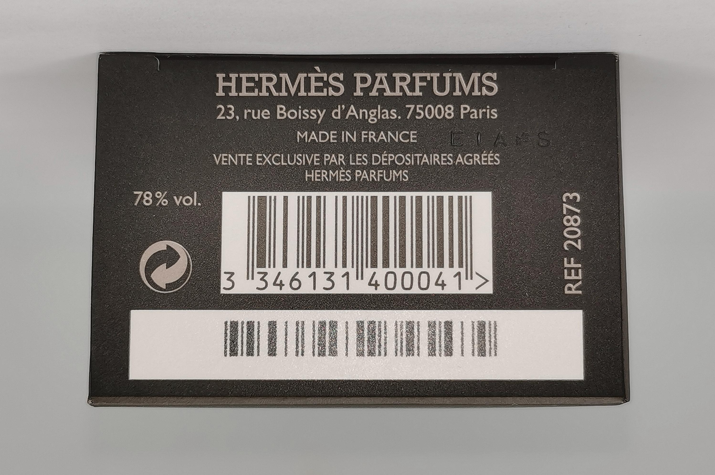 Туалетная вода 50 мл Hermes Terre D`Hermes - фото штрих-кода и батч-кода на коробке