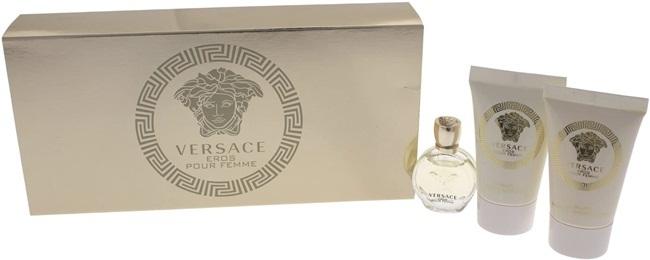 Набор (парфюмерная вода 5 мл + гель для душа 25 мл + лосьон для тела 25 мл) Versace Eros Pour Femme