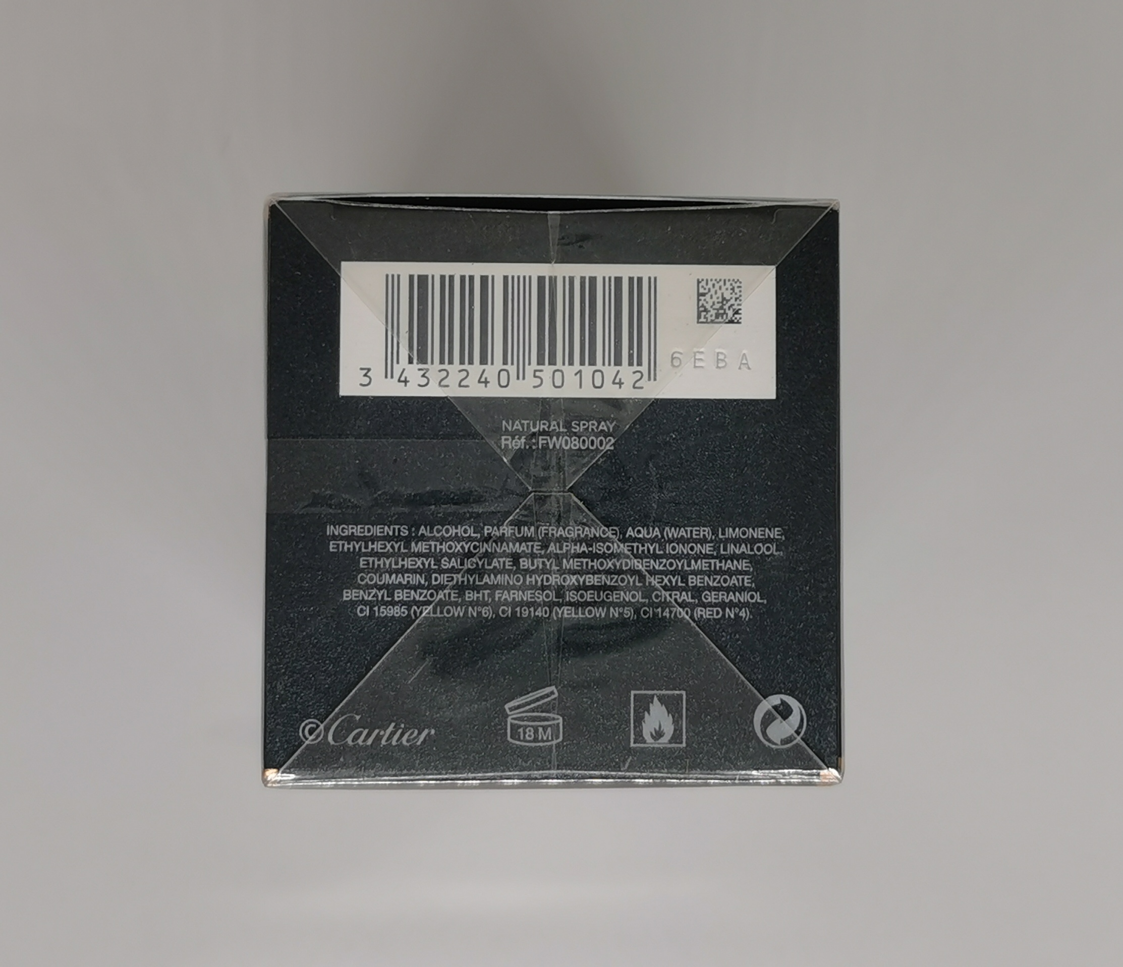 Парфюмерная вода 80 мл Cartier L Envol - фото штрих-кода и батч-кода на коробке