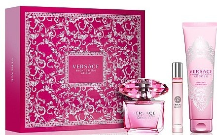 Набор (парфюмерная вода 90 мл + парфюмерная вода 10 мл + лосьон для тела 100 мл) Versace Bright Crystal Absolu