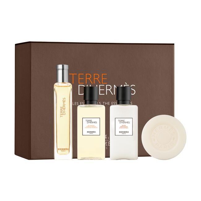 Набор (туалетная вода 15 мл + гель для душа 40 мл + бальзам после бритья 40 мл + мыло 50 гр) Hermes Terre D`Hermes