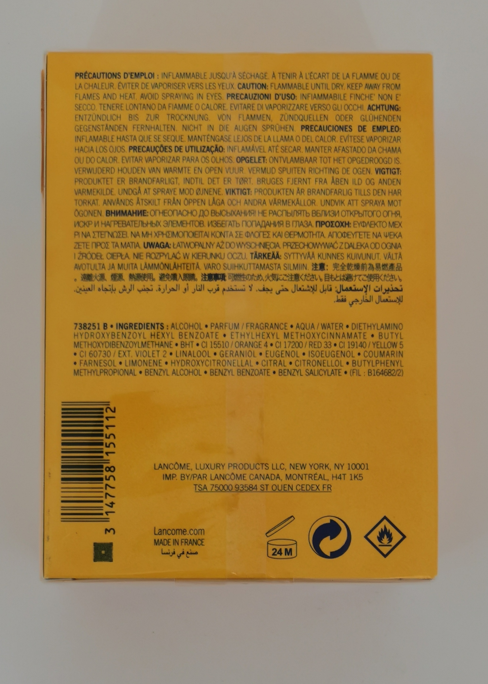 Парфюмерная вода 100 мл Lancome Poeme - фото штрих-кода на коробке