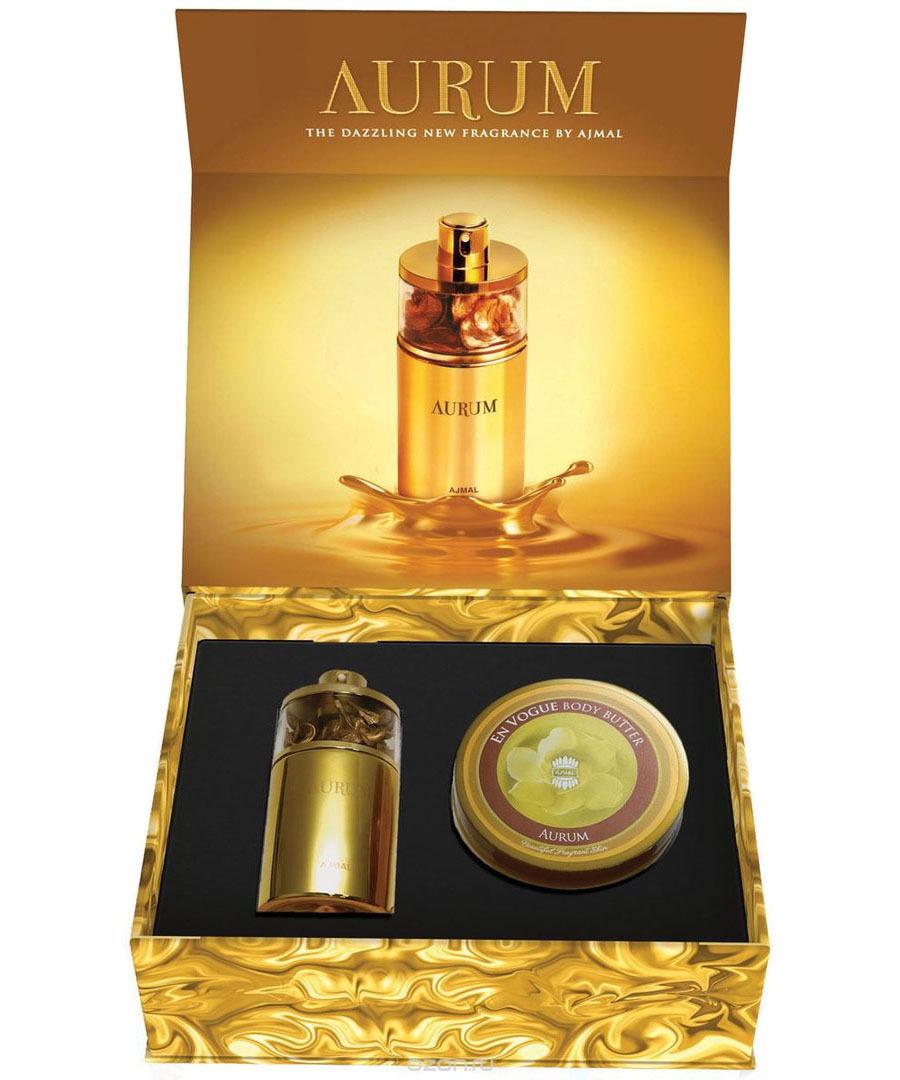 Набор (парфюмерная вода 75 мл + масло для тела 200 мл) Ajmal Aurum