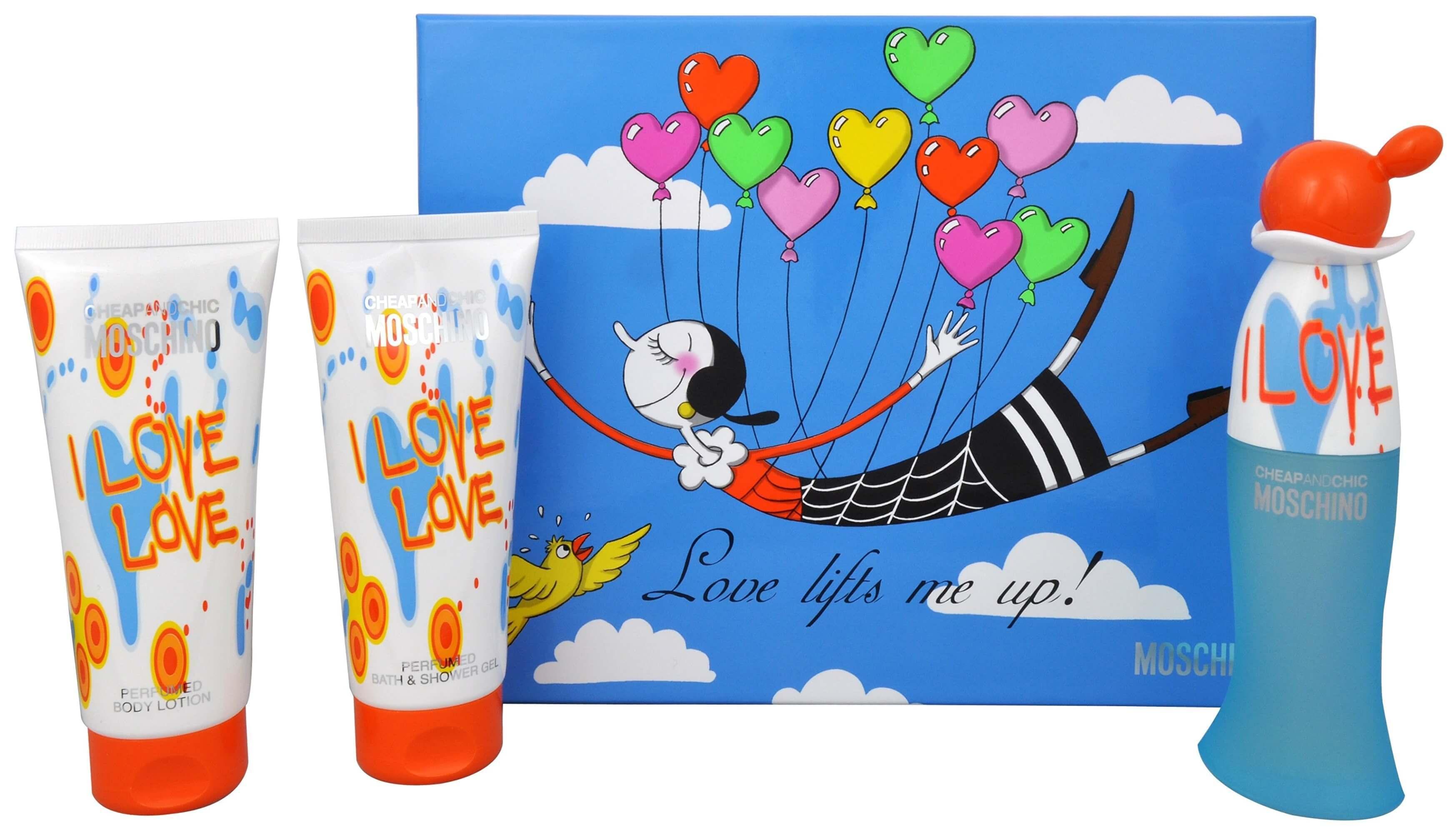 Набор (туалетная вода 50 мл + гель для душа 100 мл + лосьон для тела 100 мл) Moschino Cheap and Chic I Love Love