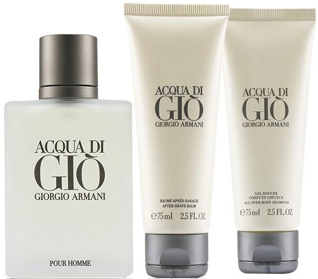 Набор (туалетная вода 50 мл + гель для душа 75 мл + бальзам после бритья 75 мл) Giorgio Armani Acqua Di Gio