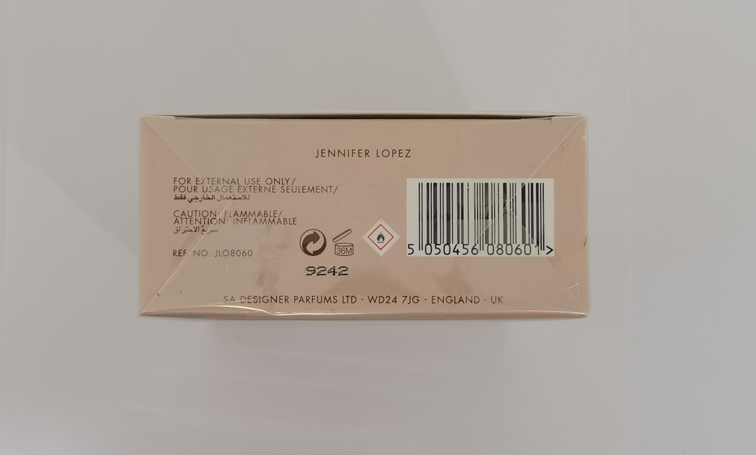 Парфюмерная вода 100 мл Jennifer Lopez Still - фото штрих-кода и батч-кода на коробке