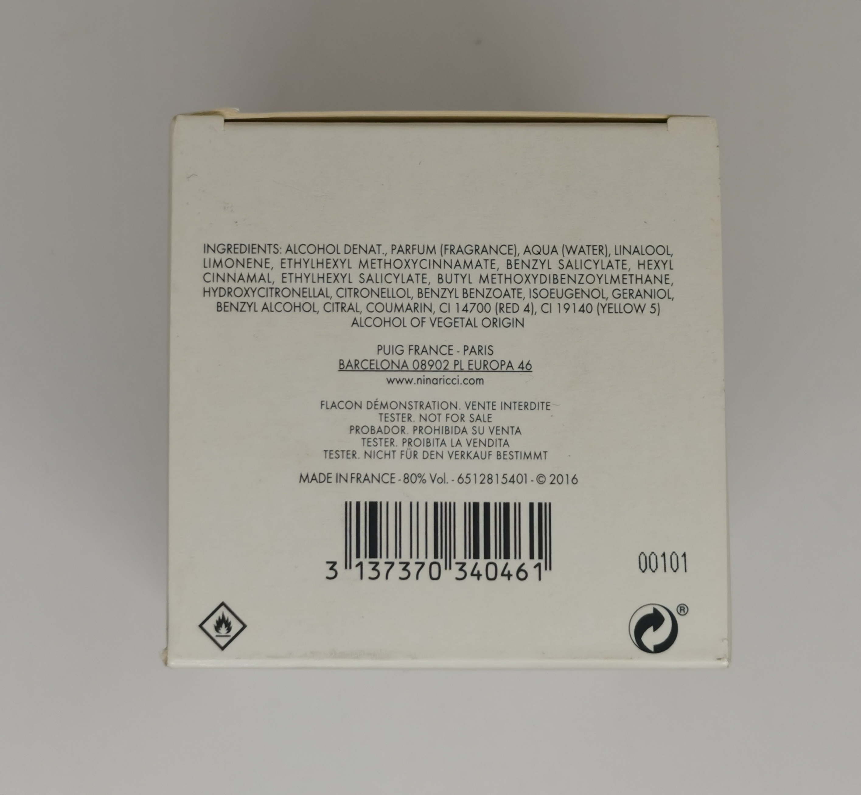 Парфюмерная вода (тестер) 100 мл Nina Ricci Premier Jour - фото штрих-кода и батч-кода на коробке
