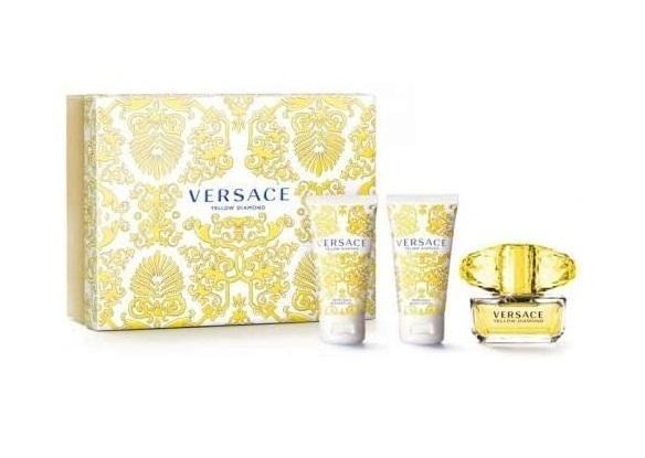 Набор (туалетная вода 50 мл + гель для душа 50 мл + лосьон для тела 50 мл) Versace Yellow Diamond