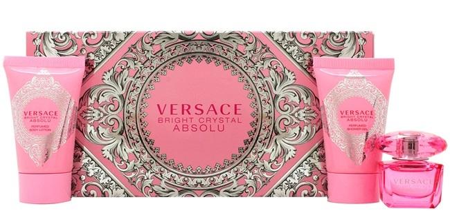 Набор (парфюмерная вода 5 мл + гель для душа 25 мл + лосьон для тела 25 мл) Versace Bright Crystal Absolu