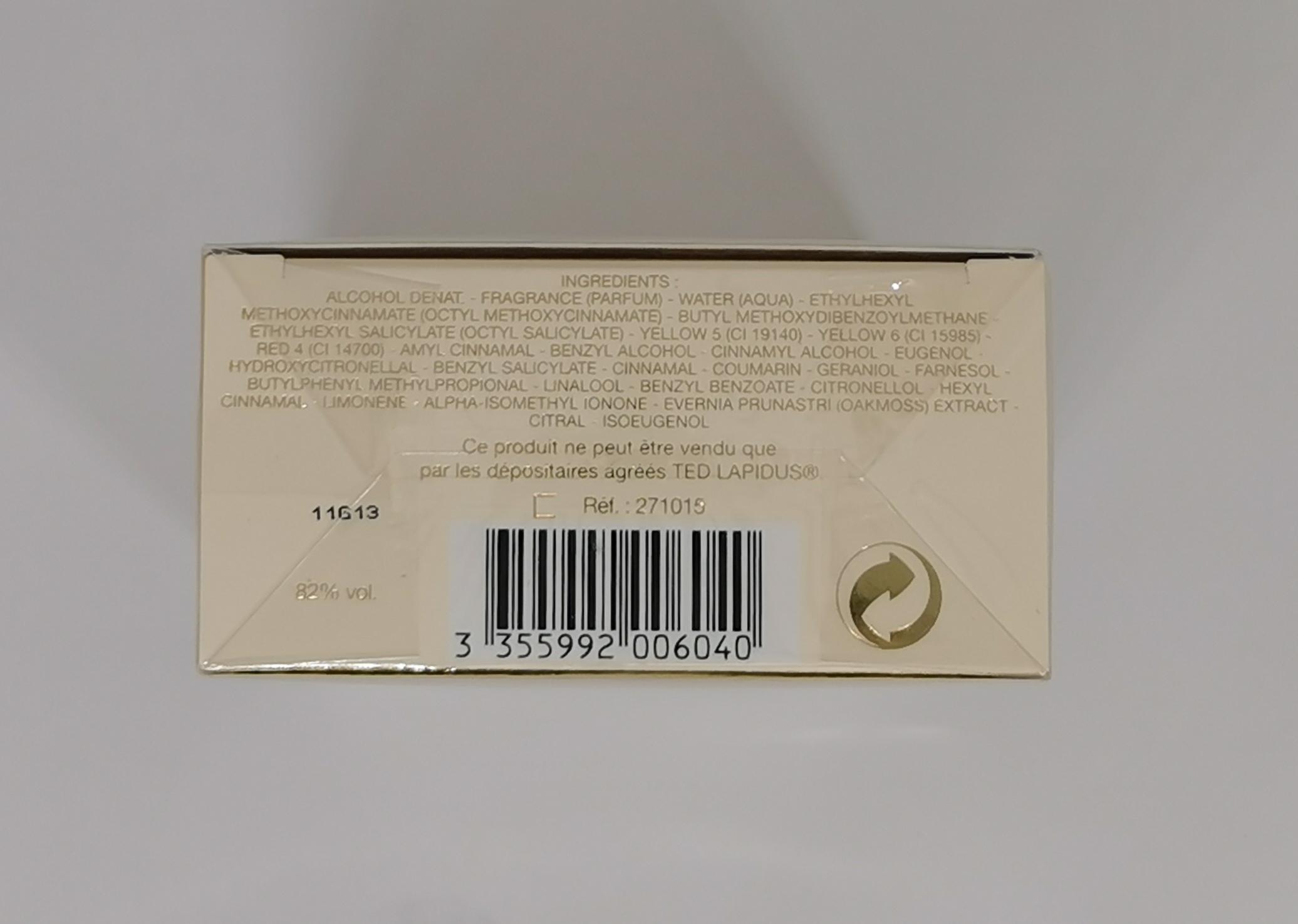Туалетная вода 40 мл Ted Lapidus Creation - фото штрих-кода и батч-кода на коробке